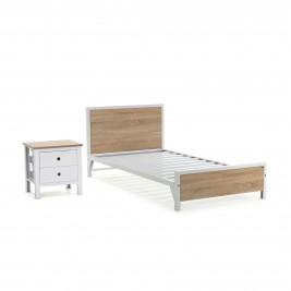 Cama sencilla + mesa de noche 2 cajones