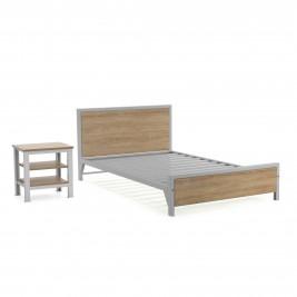 Cama Factory semidoble + 2 mesas de noche Factory 2 entrepaños