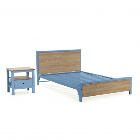 Cama Factory semidoble + 2 mesas de noche Factory 1 cajón