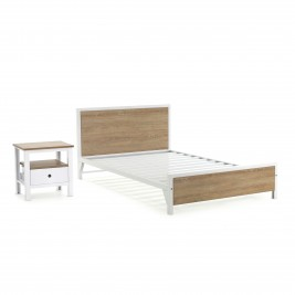Cama Factory semidoble + 1 mesa de noche Factory 1 cajón