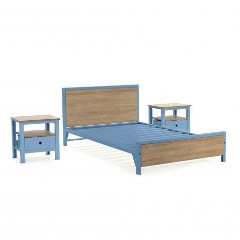 Cama Semidoble + 2 mesas de noche 1 cajón